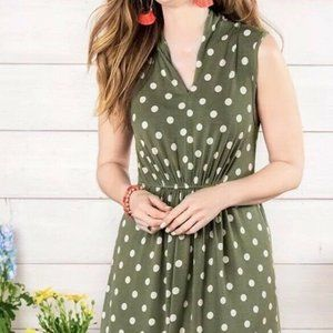 Matilda Jane Dot your I small green polkadot dress